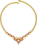 Estate Jewelry:Necklaces, Ruby, Diamond, Gold Necklace. ...
