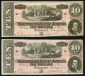Confederate Notes:1864 Issues, T68 $10 1864 PF-44 Cr. 552 Two Consecutive Examples Choice Crisp Uncirculated.. ... (Total: 2 notes)