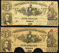Confederate Notes:1861 Issues, T37 $5 1861 PF-1 Cr. 284 Fine, 2 COC;. T37 $5 1861 PF-2 Cr. 285 Fine.. ... (Total: 2 notes)