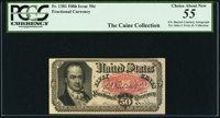 J.N. Huston Courtesy Autograph Fr. 1381 50¢ Fifth Issue PCGS Choice About New 55