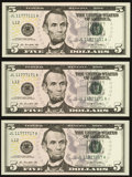 Small Size:Federal Reserve Notes, Fancy Binary Trio of Fr. 1994-L $5 2009 Federal Reserve Notes Superb Gem Uncirculated.. ... (Total: 3 notes)