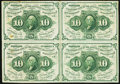 Fractional Currency:First Issue, Fr. 1242 10¢ First Issue Block of Four Notes Extremely Fine-About New.. ...