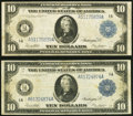 Large Size:Federal Reserve Notes, Fr. 907a $10 1914 Federal Reserve Note Two Examples Fine-Very Fine.. ... (Total: 2 notes)