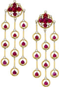 Estate Jewelry:Earrings, Ruby, Diamond, Gold Earrings, Aletto Brothers. ...