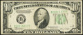Error Notes:Gutter Folds, Gutter Fold Error Fr. 2008-B $10 1934C Wide Federal Reserve Note. Very Fine.. ...