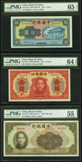 China Bank of China 5; 10; 500 Yuan 1941; 1942 Picks 93; 95; 99 PMG Gem Uncirculated 65 EPQ; Choice Uncirculated 6