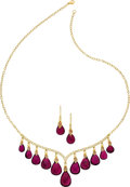 Estate Jewelry:Suites, Diamond, Ruby, Tourmaline, Gold Jewelry Suite. ... (Total: 2 Items)