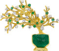 Estate Jewelry:Brooches - Pins, Emerald, Diamond, Gold Brooch, Peter Lindeman. ...