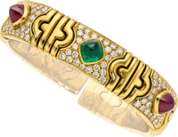 Ruby, Emerald, Diamond, Gold Bracelet, Bvlgari