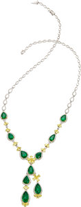Estate Jewelry:Necklaces, Emerald, Colored Diamond, Diamond, Gold Necklace. ...