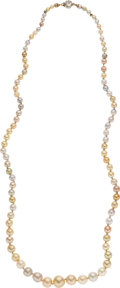 Estate Jewelry:Necklaces, Natural Pearl, Diamond, Gold Necklace. ...