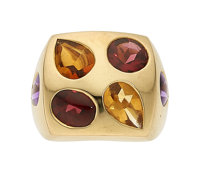 Multi-Stone, Gold Ring, Chanel, French