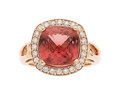 Estate Jewelry:Rings, Pink Tourmaline, Diamond, Rose Gold Ring. ...