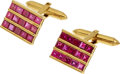 Estate Jewelry:Cufflinks, Ruby, Gold Cuff Links. ...