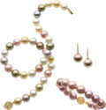 Estate Jewelry:Suites, South Sea Cultured Pearl, Diamond, Gold Jewelry Suite. ... (Total: 3 Items)