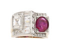 Estate Jewelry:Rings, Retro Ruby, Diamond, Platinum-Topped Gold Ring. ...