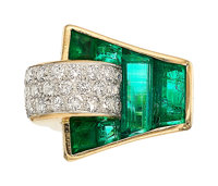 Retro Emerald, Diamond, Platinum-Topped Gold Ring, Trabert & Hoeffer Mauboussin