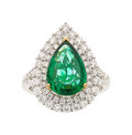 Estate Jewelry:Rings, Zambian Emerald, Diamond, Gold Ring . ...