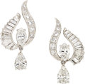 Estate Jewelry:Earrings, Diamond, Platinum Earrings, Oscar Heyman Bros. . ...