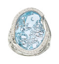 Estate Jewelry:Rings, Aquamarine, Diamond, White Gold Ring, Michael von Krenner. ...