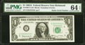"""Small Size:Federal Reserve Notes, Fr. 1901-E $1 1963A Federal Reserve Note with """"Radar"""" Serial Number 25555552. PMG Choice Uncirculated 64 EPQ.. ..."""