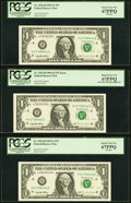 Error Notes:Miscellaneous Errors, Back Plate Number 295 Engraving Size Error with Bookends Fr. 1922-H $1 1995 Federal Reserve Notes. Three Examples. PCGS Superb... (Total: 3 notes)