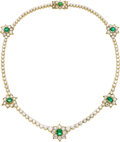 Estate Jewelry:Necklaces, Emerald, Diamond, Gold Necklace. ...