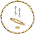 Estate Jewelry:Suites, Cultured Pearl, Gold Jewelry Suite, Bvlgari. ... (Total: 4 Items)