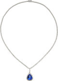 Estate Jewelry:Necklaces, Tanzanite, Diamond, White Gold Necklace, M. Christoff. ...