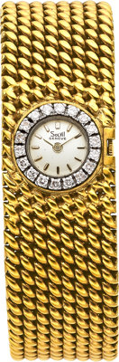 Solvil Lady's Diamond, Platinum, Gold Bracelet-Watch