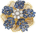 Estate Jewelry:Brooches - Pins, Sapphire, Diamond, Gold Brooch, Peter Lindeman. ...