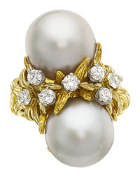 South Sea Cultured Pearl, Diamond, Gold Ring, Peter Lindeman