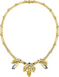 Estate Jewelry:Necklaces, Diamond, Sapphire, Gold Necklace, Peter Lindeman. ...