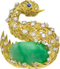 Estate Jewelry:Brooches - Pins, Diamond, Jadeite Jade, Sapphire, Gold Brooch, Peter Lindeman. ...