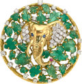 Estate Jewelry:Pendants and Lockets, Diamond, Emerald, Gold Pendant-Brooch, Peter Lindeman. ...