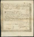 Colonial Notes:Massachusetts, Massachusetts Bay State Treasury Certificate December 1, 1777 Anderson MA-10 Very Fine.. ...