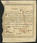 Colonial Notes:Massachusetts, Massachusetts Bay Bounty Note January 11, 1777 10 Pounds Anderson MA-5 Extremely Fine.. ...
