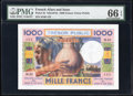 French Afars & Issas Tresor Public, Djibouti 1000 Francs ND (1974) Pick 32 PMG Gem Uncirculated 66 EPQ