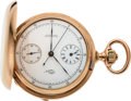 Timepieces:Pocket (pre 1900) , Patek Philippe & Co., Very Rare Pocket Watch With Regulator Dial, Chronograph With Central Minute Recording Hand, 18k Gold, N...