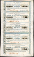 Obsoletes By State:Virginia, Lynchburg, VA - Virginia State Navigation Lottery Uncut Sheet Fifth Class Tickets 1827 Extremely Fine.. ...