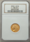 1908 $2 1/2 MS63 NGC. NGC Census: (1510/1753). PCGS Population: (1709/2175). CDN: $525 Whsle. Bid for problem-free NGC/P...