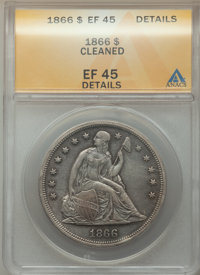 1866 $1 Motto -- Cleaned -- ANACS. XF45 Details. CDN: $1,000 Whsle. Bid for problem-free NGC/PCGS XF45. Mintage 48,900...