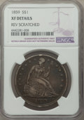 1859 $1 -- Rev Scratched -- NGC Details. XF. NGC Census: (3/74). PCGS Population: (24/127). CDN: $800 Whsle. Bid for pro...
