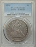 Seated Dollars, 1850 $1 -- Tooled -- PCGS Genuine. Fine Details. NGC Census: (0/125). PCGS Population: (2/214). CDN: $750 Whsle. Bid for pr...