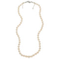 Estate Jewelry:Necklaces, Freshwater Cultured Pearl, Diamond, White Gold Necklace, French. ...
