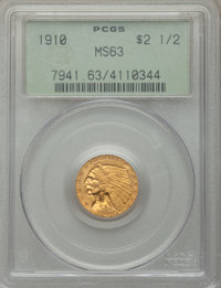 1910 $2 1/2 MS63 PCGS. PCGS Population: (868/634). NGC Census: (1444/990). CDN: $675 Whsle. Bid for problem-free NGC/PCG...