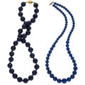 Estate Jewelry:Necklaces, Lapis Lazuli, Sterling Silver Necklaces. ... (Total: 2 Items)