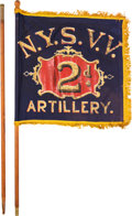 Military & Patriotic:Civil War, New York 2nd Artillery Painted Flag.. ...