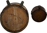 Pair Of Confederate Wooden Canteens