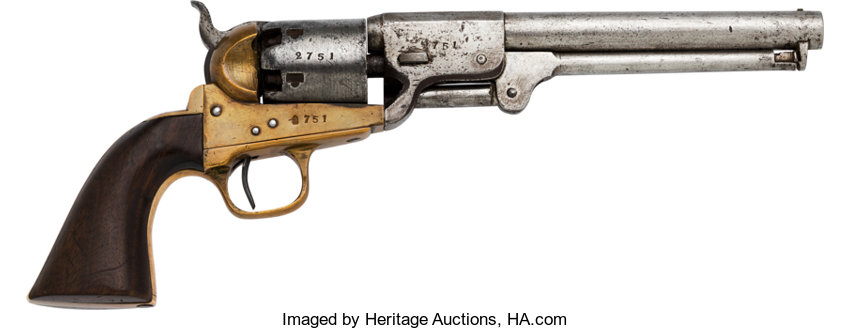 Handguns:Single Action Revolver, Fine and Rare Second Model Griswold & Gunnison Confederate Revolver.. ...